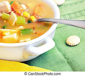 galinha, e, sopa vegetal