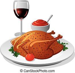 galinha grelhada, vinho