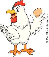 galinha, ovo, caricatura, segurando