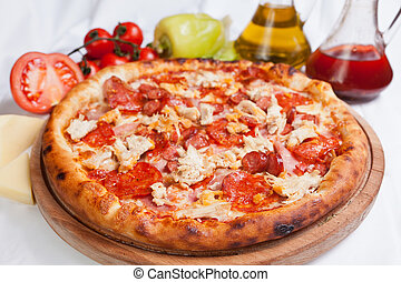 galinha, pizza carne