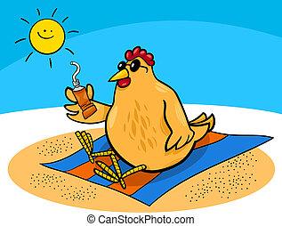 galinha, praia, caricatura