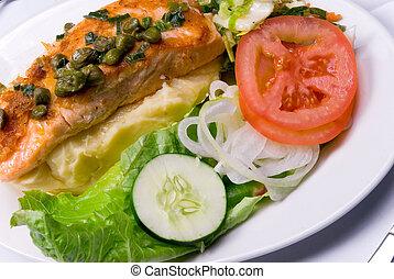 galinha, refeição, salada
