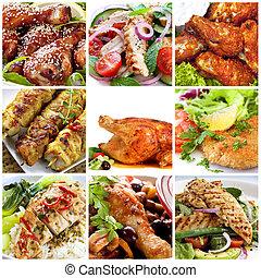 galinha, refeições, colagem