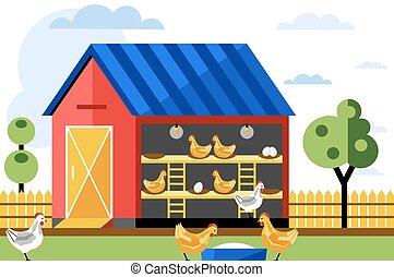 galinha, vetorial, fazenda, illustration.