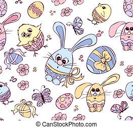 Galinhas, coelhinhos, Páscoa, ovos