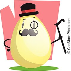 Gallant Easter egg with monocle and top hat illustration web...