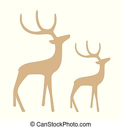 gallant reindeer silhouette isolated on white background...