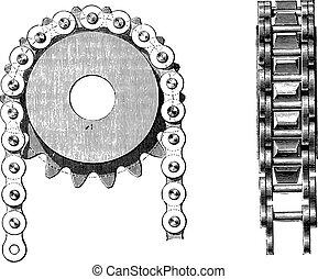 galle, 鎖, engraving., ナット, 彼の, 型
