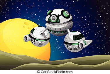 galleggiante, astronave, rotondo, spazio