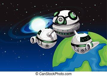 galleggiante, astronave, spazio