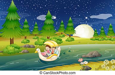 galleggiante, bambini, barca fiume
