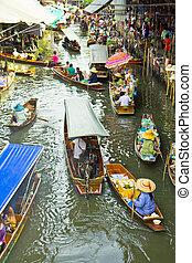 galleggiante, damnoen, bangkok, tailandia, saduak, mercato