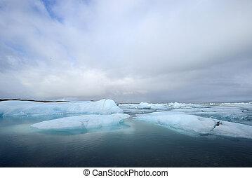 galleggiante, iceberg, lago
