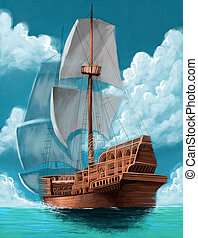 galleon - great galeon with open sails in the ocean...