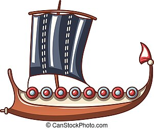 Galleon icon, cartoon style - Galleon icon. Cartoon...