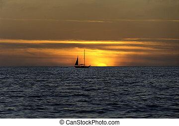 Galleon sunset