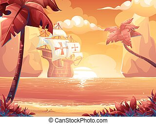 Galleon with crimson sun, sunrise or sunset on the sea