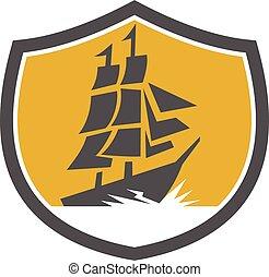 galleontall, navio, crista, retro, velejando