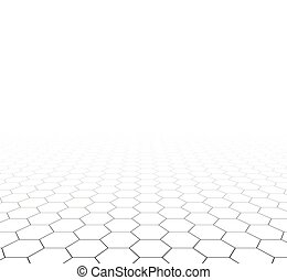 galler, hexagonal, perspektiv, surface.