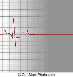 galler, med, hjärta slog, och, då, flatline
