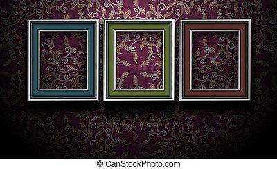 galleri, billede indrammer, på, grunge, vinhøst, mur