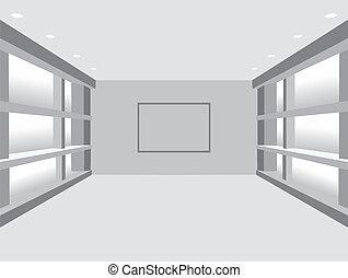 galleri, interior:, vektor, illustrati