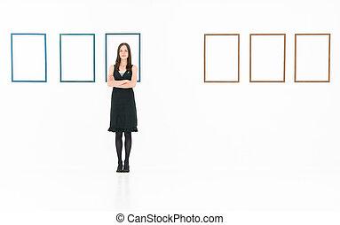 galleria arte, femmina, artista