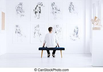 galleria arte, rilassante, uomo