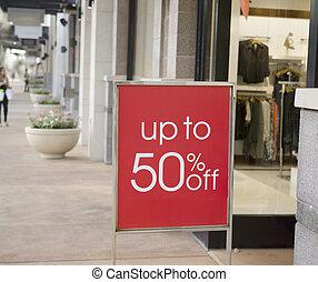 galleria, försäljning, underteckna, utanför, berätta, lager
