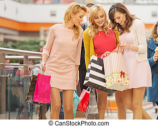 galleria, inköp, attraktiv, kvinnor