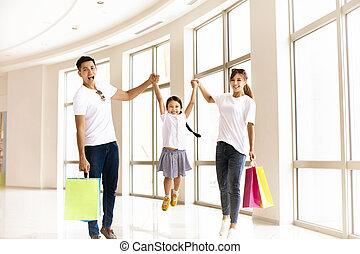 galleria, inköp, familj, lycklig, nöje, ha