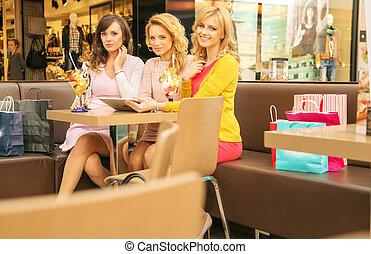 galleria, kvinnor handling, tre, attraktiv