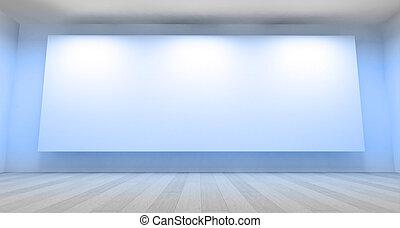 galleria, stanza, vuoto, 3d