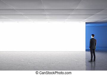 galleria, uomo affari, interno