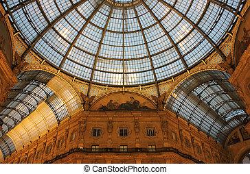 Galleria Vittorio Emanuele II in Milan, illuminated by the ...