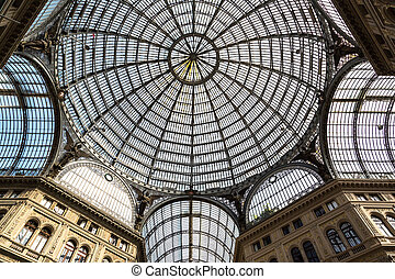 NAPLES, ITALY - AUGUST 19: Galleria vittorio emanuele II inside in Naples, Italy on August 19, 2014