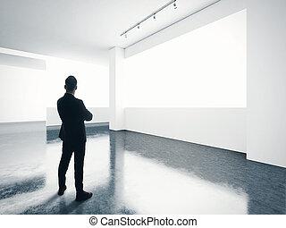 gallery., αδειάζω , άντραs , οθόνη , σύγχρονος , ατενίζω