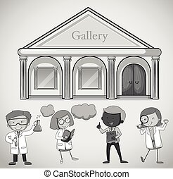 Gallery building and people