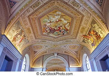 Vatican Museum - Gallery ceiling in Vatican Museum, Vatican ...
