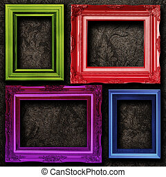 Gallery display - Four contemporary picture frames vibrant...