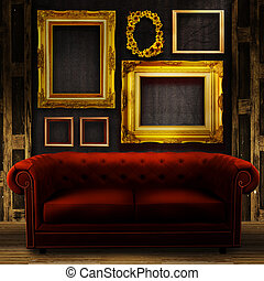 Gallery display - vintage gold frames on an old timber wall...