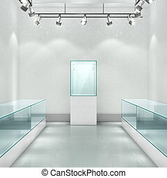 Gallery. Empty glass showcase in the room. 3d illustration