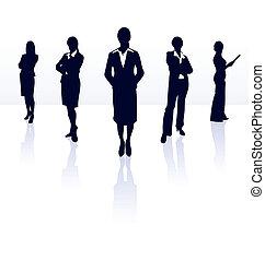 gallery., femme affaires, silhouettes, team., vecteur, mon, plus