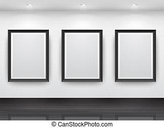 Gallery Interior with empty black frameN? on wall