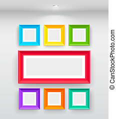 Gallery Interior with empty colorful