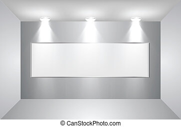 Gallery Interior with empty frame on wall. Vector