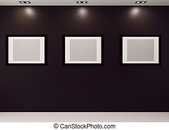 Gallery Interior with empty frames on black wall