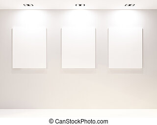 Gallery Interior with empty frames on white wall