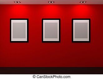 Gallery Interior with empty frames on red wall