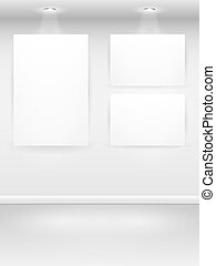 Gallery Interior with empty frames on wall. Vector...